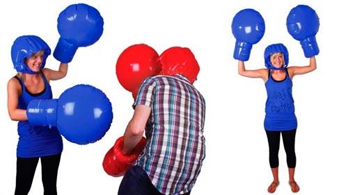 Guantes y casco de boxeo inflable para parejas
