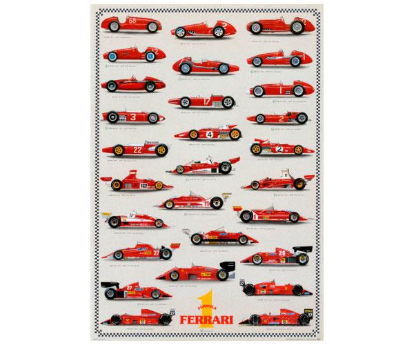 Poster coches Ferrari Formula1 vintage